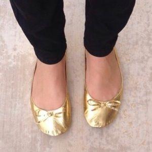 Gold Ballet Flat Rollasole